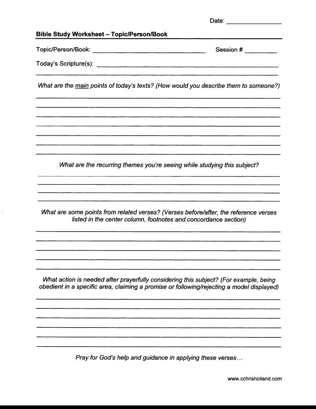 Bible Study Worksheet - Topic-Person-Book